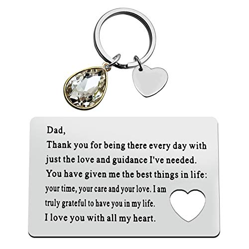 Father's Day Gift Metal Wallet Insert Card for Father Dad Birthday Gift for Dad from Daughter Son Engraved Wallet Insert Card Keychain Set Gift Thank You Gift Appreciation Gift Wedding Funny Dad Gift
