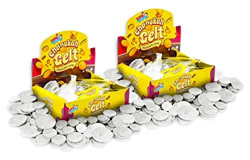 Hanukkah Gelt Coins Chocolate - Kosher Bittersweet Chocolate Coins (Parve) - 48 Mesh Bags Filled with Menora Embossed Hanukkah Gelt Coins