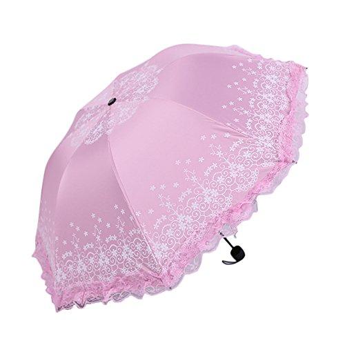 Kentop Femme Pointe Soleil Rege nschir Pliable Parapluie de Pluie Revêtement en Vinyle Coupe-Vent Parasol Parapluie, Rosa, 96 * 60cm