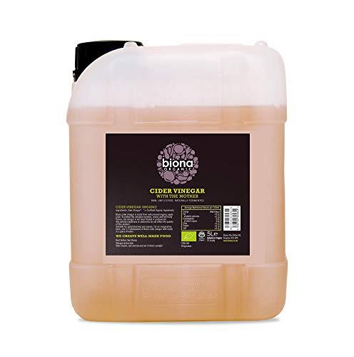 Biona - Vinagre de sidra de manzana ecológico; sin filtrar, contiene enzimas madre. Garrafa de 5 litros
