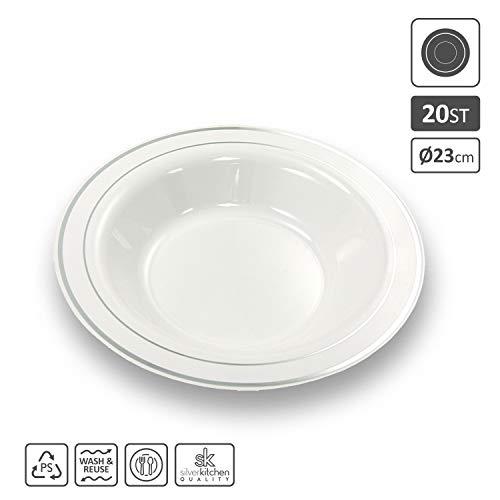Silverkitchen 20x Suppenteller weiß mit Silberrand Ø 23 cm | stabile Einwegteller aus Plastik Alt. zu Einweg | Robustes Partygeschirr Suppenschale in Porzellan Optik | für Geburtstag Hochzeit