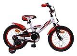 AMIGO BMX Turbo - Kinderfahrrad für Jungen - 16 Zoll - mit Handbremse, Rücktritt, Lenkerpolster und Stützräder - ab 4-6 Jahre - Weiß