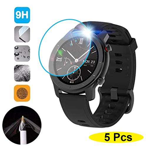 Xbeast 5 STÜCKE Klarfolie Gehärtetes Glas Displayschutzfolie Kompatibel mit AMAZFIT GTR Smart Watch 42mm