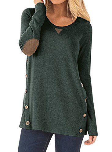 NICIAS Damen Seitliche Tasten Langarmshirt Pullover Lässige Rundhals Sweatshirt Ellenbogen Gepatcht Hemd Lose T Shirt Blusen Tunika Top(Dunkelgrün, XXL)