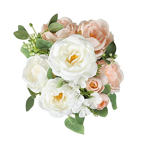 Floweroyal Artificial Peony Vintage Faux Camellia Silk Flowers Bridal Bouquets with 6 Bloomed Flower Heads for Wedding Table Centerpieces Home Floral Arrangements (Champagne)