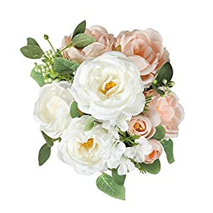 Silk Flower Arrangements Floweroyal Artificial Peony Vintage Faux Camellia Silk Flowers Bridal Bouquets with 6 Bloomed Flower Heads for Wedding Table Centerpieces Home Floral Arrangements (Champagne)