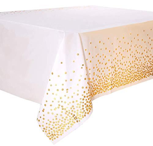 Einweg Party Tischdecken, 2 Packungen Plastik Party Tischdecke in Weiß und Gold Rechteckige Tischdekoration für Brautduschen Verlobung Hochzeit Einweihungsparty (137 x 274 cm)