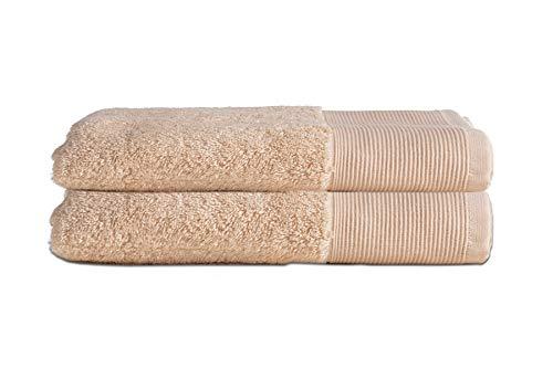 Price comparison product image Allure Bath Fashions Absorbent Towel Bath Towels 60% Bamboo & 40% Cotton Marlborough Collection 2 x Quick Dry Bath Towels Set 70 x 125cm 550gsm (Sand,  2x Bath Towels)