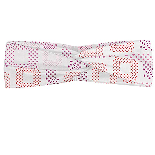 ABAKUHAUS Pink Dots Polka Bandeau, Mise en page moderne de carrés formés de taches, Serre-tête Féminin Élastique et Doux pour Sport et pour Usage Quot