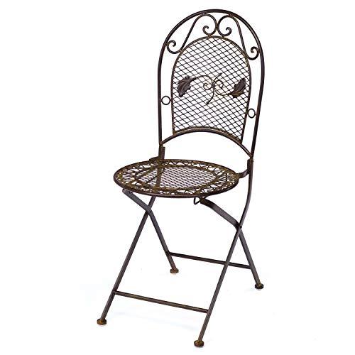 aubaho Nostalgie Gartenstuhl 9kg Schmiedeeisen Klappstuhl Stuhl antik Stil braun Eisen