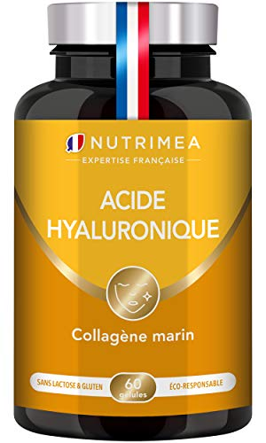 ACIDE HYALURONIQUE PUR & COLLAGENE MARIN - Enrichi en vitamines A & C - Antiride 100% naturel...