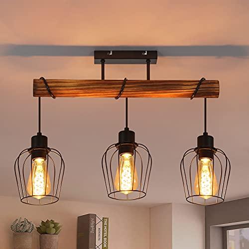 ZMH Retro Deckenleuchte Vintage Deckenlampe 3 flammige Holz Wohnzimmerlampe im Industrial Design mit höhenverstellbaren Strahlern aus Metall und Holz - Schwarz - Fassung: E27 - ohne Leuchtmittel