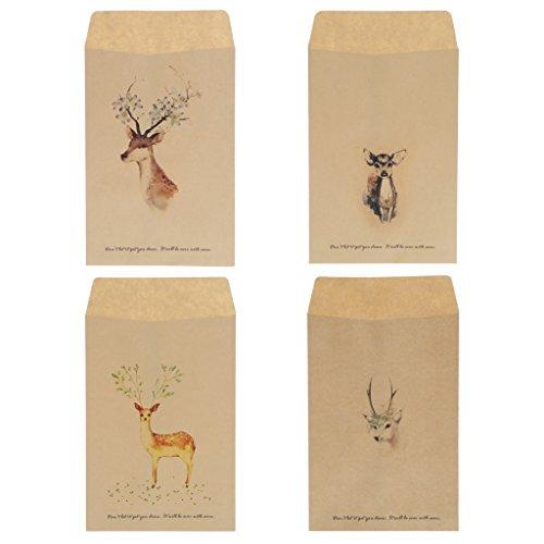 Yanhonin 12 x Vintage Deer Mini Umschlag aus Papier, Grußkarten und Einladungsumschläge, für Postkarten