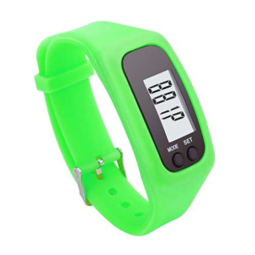 Perman Durable Digital LCD Pedometer Run Step Walking Distance Calorie Counter Watch Bracelet (Green )