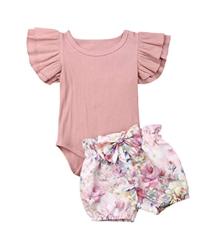 Conjunto de 3 peças de roupas para recém-nascidos, bebês, meninas, macacão, macacão floral, calça Halen, Rosa 2, 9-12 meses
