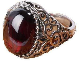 necklace Damenmode Halskette Männer Frauen auf dem Ring 925 Sterling Silber Ringe Granatapfel Shi Yu Honggang öffnen Heben (Size : 58 * 18.4mm)