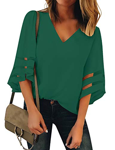 LookbookStore Women's Dark Green V Neck Casual Mesh Panel Work Office Blouse 3/4 Bell Sleeve Solid Color Loose Top Shirt Size L(US 12-14)