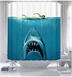 Ocean-Themed Shark Whale Shower Curtain Waterproof Bathroom Decorative Shower Curtain Simple Stylish with 12 Hooks 71x71 inches.