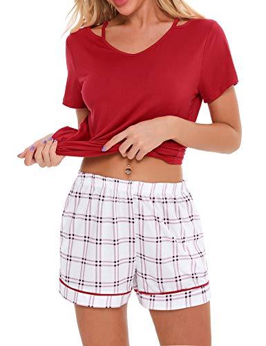 Irevial Pijamas para Mujer Verano Corto Ropa de Domir de Algodon Manga Corta Camisetas Mangas Corta y Pantalones Cortos Dos Piezas