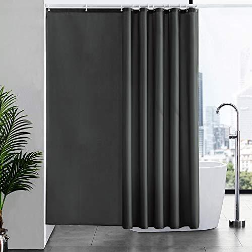 Furlinic Duschvorhang Überlänge Badvorhang Anti-schimmel Textil für Badewanne und Dusche Vorhang aus Stoff Antibakteriell Waschbar mit 12 Duschringen Dunkelgrau Extra Groß 200x200cm.