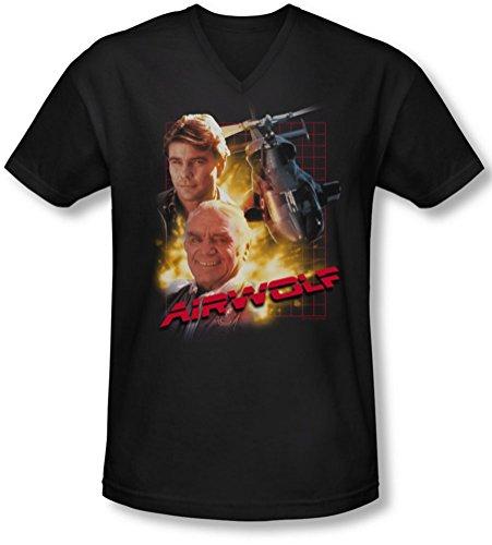 Airwolf - - T-shirt à encolure en V pour homme, Large, Black