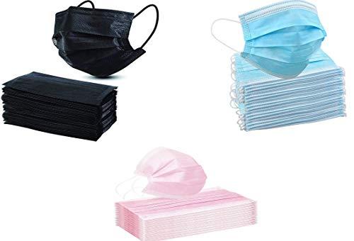 KAV® Lot de 150 masques jetables 3 plis (50 bleus, 50 noirs et 50 rose) | Couverture du visage | Haute filtrabilité, convient aux peaux sensibles