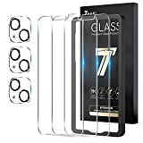 TAURI 6 Pack Protector de Pantalla iPhone 13, 3 Pack HD Ultrafino Cristal Vidrio Templado y 3 Pack Protector de Lente de cámara, Dureza 9H, Sin Burbujas,Alta sensibilidad,Marco de Posicionamiento