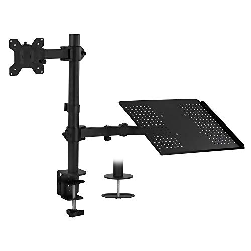 Mount-It! Laptop and Monitor Desk Mount   Fully Adjustable Laptop Mount   VESA Monitor Arm Stand   Desk Pole Mount Extension for Monitors and Laptops