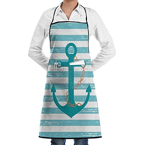 LOSNINA Delantal de cocina impermeable para hombres delantal de chef para mujeres restaurante,Cadena de ancla de barco verde azulado Vida marina inspirada con líneas de fondo Navegación en el océano