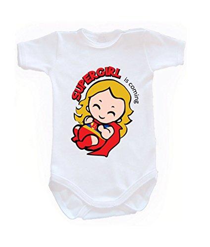 Couleur Mode bébé Superwoman bodies à manches courtes 100% coton Petit bébé – 24 mois – 0010 blanc 0-3 months, 62 cm