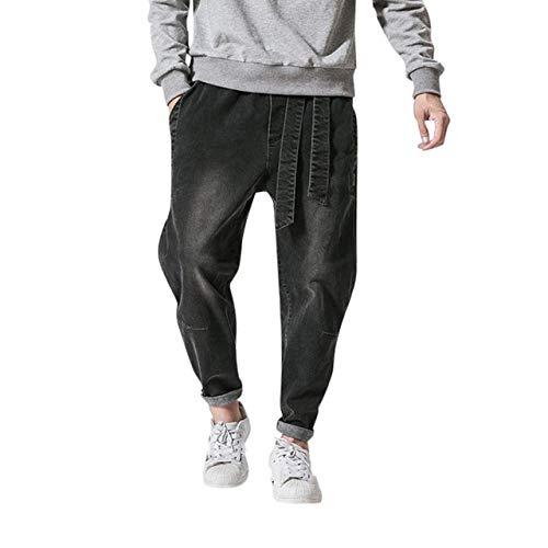 Loeay Die beiläufige Persönlichkeit der Art nehmen passende Denim-Jeans-Hosen-Frauen beiläufige männliche Feste lose Ladung-Hosen-Rüttler-beiläufige Arbeitskleidung-Schwarzes 4XL ab