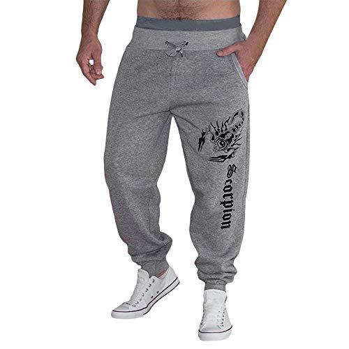 Pantalons de sport hommes, Automne hiver Décontractée Impression Pantalon de jogging Coton les pantalons de survêtement Loisir Toamen (XXL, Gris)