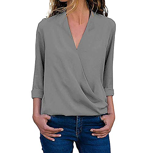OSYARD Damen Sexy Farbe V-Ausschnitt Sweatshirt Plus Größe Lose, Frauen Casual Wrap V-Ausschnitt Roll Up Langarm Solid Blusen Shirt Tops Tunika Pullover (2XL, Grau)