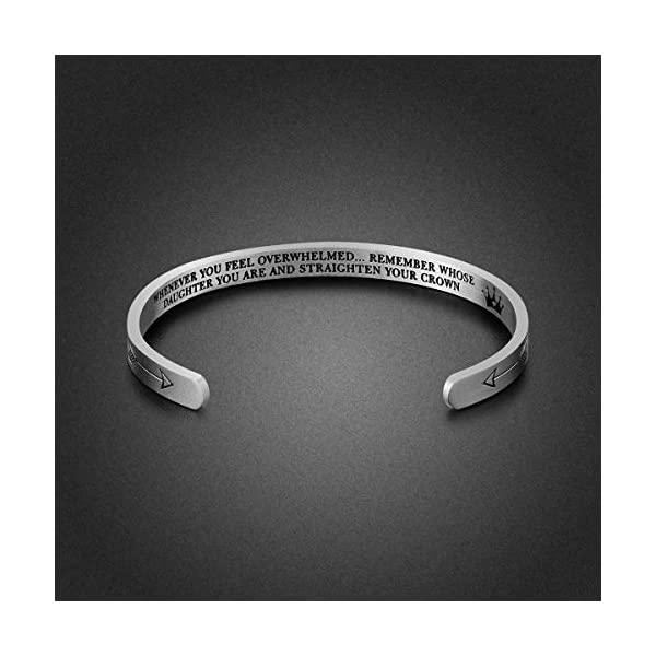 Daughter Bracelet Gifts – Inspirational Gifts for Daughter Stainless Steel Engraved Crown Cuff Bracelet Birthday Gifts for Women Teen Girls