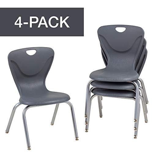 FDP 16' Contour School Stacking Student Chair, Ergonomic Molded Seat Shell with Chromed Steel Frame and Swivel Leg Glides - Gray (4-Pack)