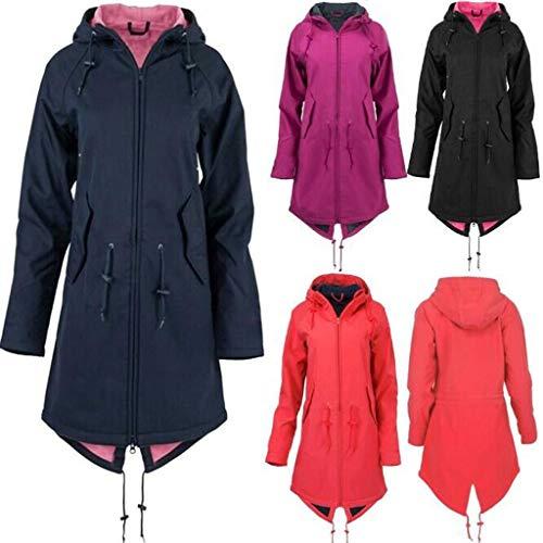 LEXUPE Women Spring Autumn Comfortable Coat Casual Fashion Jacket Women's Solid Rain Outdoor Jackets Waterproof Hooded Raincoat Windproof(Marine-1, 2XL)