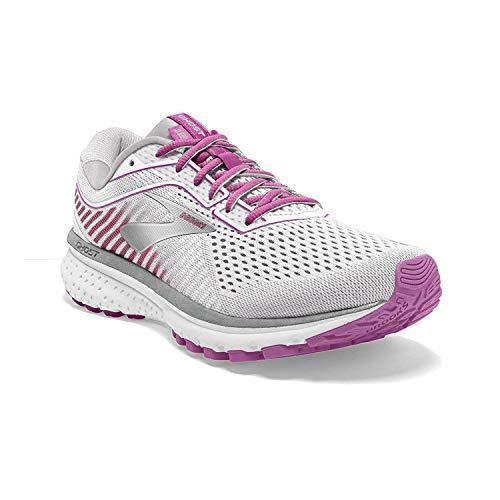 Brooks Womens Ghost 12 Running Shoe - White/Grey/Hollyhock - B - 9.5