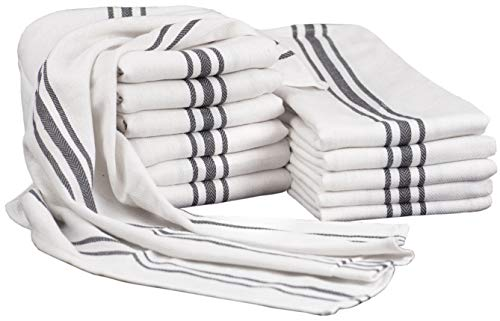 GLAMBURG Kitchen Towel Set 100 Cotton with Hanging Loop - Large 18x28 Dish Towels Absorbent Durable Washable 12-Pack White with Charcoal Grey Stripes