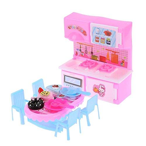 Domybest Set di Giocattoli da Cucina in Plastica Mobili per Casa delle Bambole Giocattoli in Miniatura per Casa di Bambole Accessori per Bambole Barbie (Cucina e Tavolo da Pranzo)