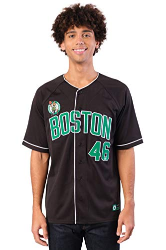 Ultra Game NBA Boston Celtics Mens Mesh Button Down Baseball Jersey Tee Shirt, Black, XX-Large