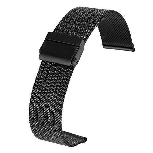 DHDHWL Cinturino Orologio Strap 18MM 20MM 22MM 24MM Dell acciaio Inossidabile Mesh Orologio Con Bracciale Gancio Fibbia Premium Sostituzione #D34 (Color : Black)