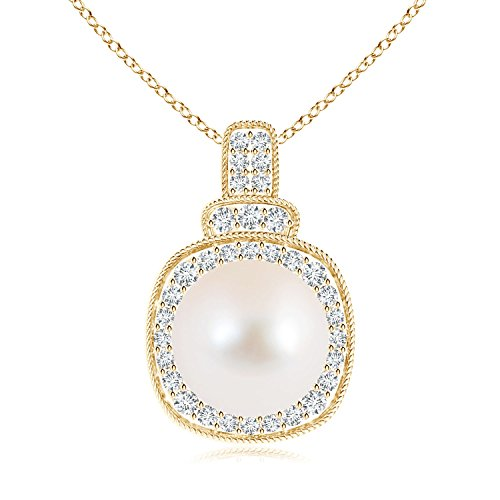 rope-edged perla vintage collana con pendente con diamante Halo e Oro giallo, cod. ANG-P-SP0949FWPRD-YG-AAA-10