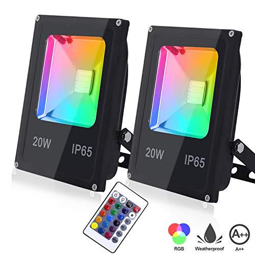Hengda 2 x 20W Focos LED RGB Exterior Foco Colores con Control Remoto IP65 Impermeable 16 Colores y 4 Modos Foco led para Fiesta Jardín Patio