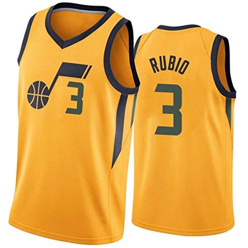 PPPU Jazz # 3 Rubio Basketball Jersey Men's, Entrenamiento Sudadera Gimnasia Chaleco Partidario Jersey Shorts Traje, Baloncesto Uniform Sportswear T-Shirt Yellow-XXL