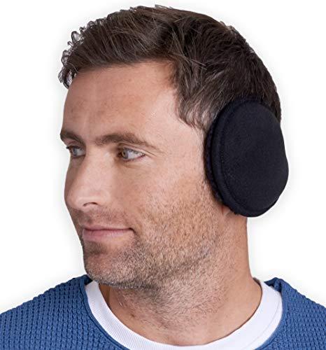 Ear Muffs for Men & Women - Winter Ear Warmers Behind the Head Style - Ear Covers for Cold Weather Black Soft Fleece Earmuffs