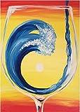 DIY Kit de pintura de diamante hecho a mano 5D Olas en la copa de vino Diamante redondo Bordado Imagen Decoración para el hogar Arte de la pared