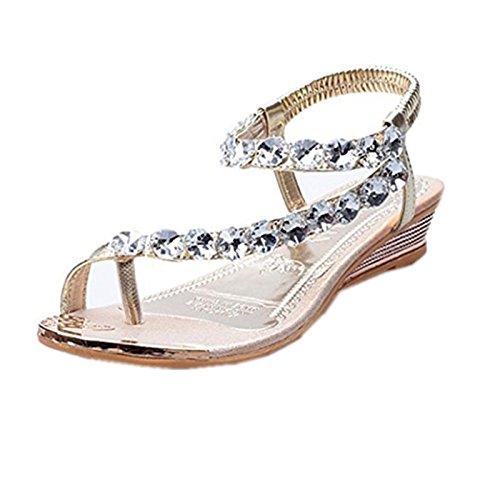 Summer Sandals Boomboom 2018 Woman Teen Girls Summer Sandals Rhinestone Flats Platform Wedges Shoes (US 7  Gold)