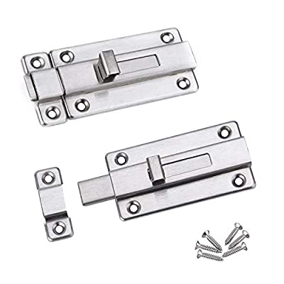 Sliding Door Bolt Latch Lock, HLOMVE Door Security Barrel Bolt Latch Lock for Bathroom, French Door Latch Lock, Slide Shed Latch Lock for Wooden Fences, Stainless Steel Brushed Finish, Pack of 2 Small