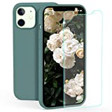 zelaxy Case Compatible with iPhone 12 Mini, Liquid Silicone Rubber Gel Case with Screen Protector for iPhone 12 Mini 5.4 inch(Pine Green)