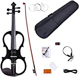 Electronic Violin, MIRIO Black Full Size 4/4 Vintage Solid Wood Metallic Electric/Silent Violin with Ebony Fittings, Carrying Case, Audio Cable, Rosin, Bow (black 1)